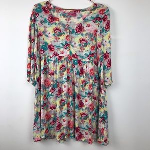 Free People Oversized Rose Babydoll Tunic Dress 2